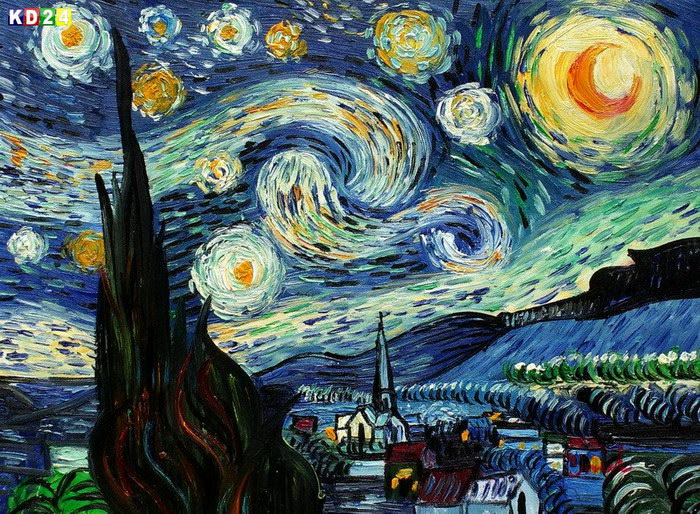 Vincent Van Gogh - Sternennacht a83042 30x40cm meisterhaftes lgemlde handgemalt
