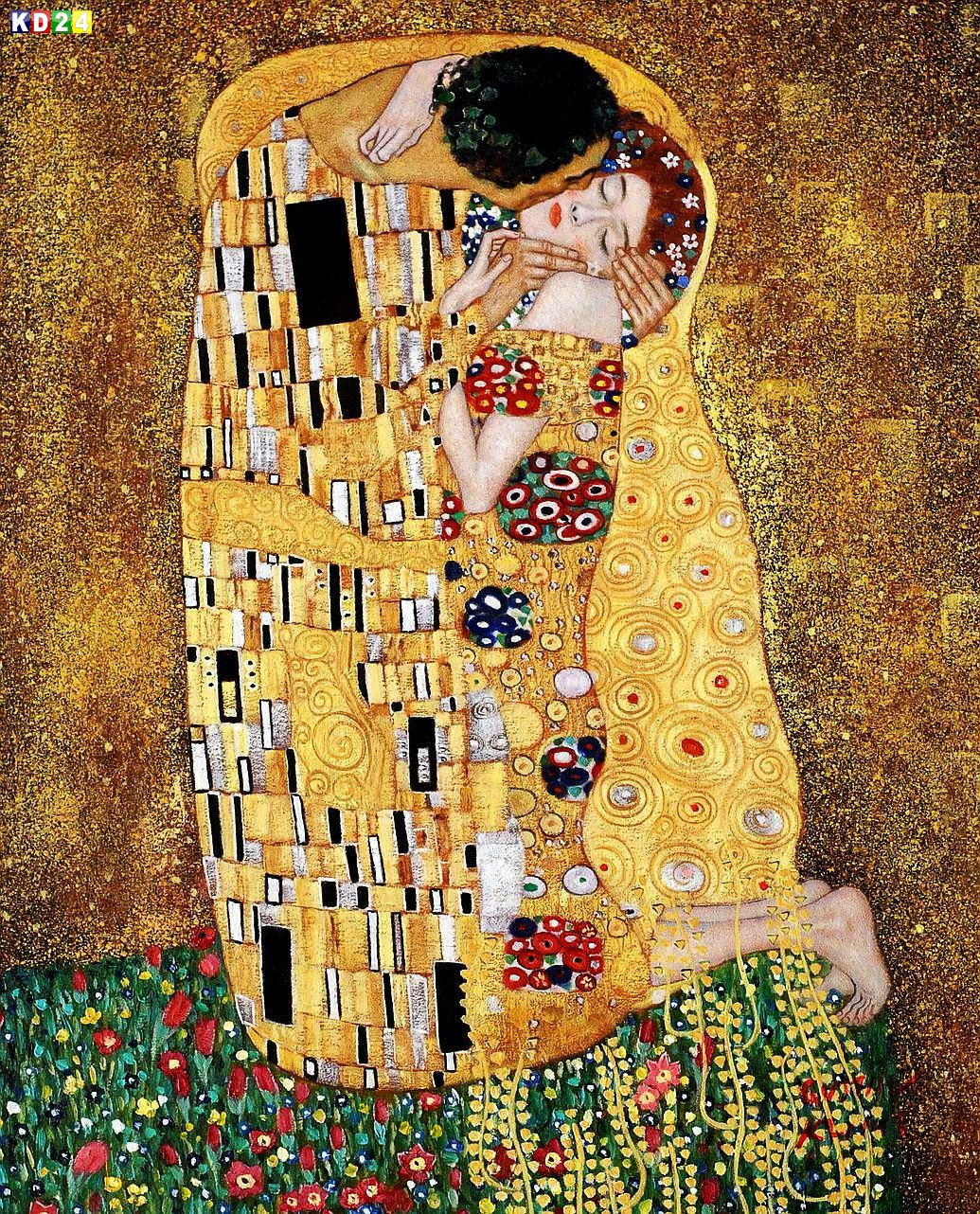 gustav klimt der kuss b83488 40x50cm lgem lde handgemalt museumsqualit t ebay. Black Bedroom Furniture Sets. Home Design Ideas