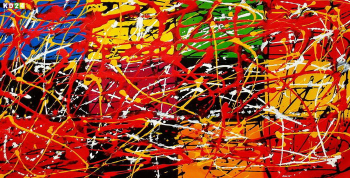 Homage of Pollock - Dripping over cubes f83319 60x120cm abstraktes Ölgemälde handgemalt
