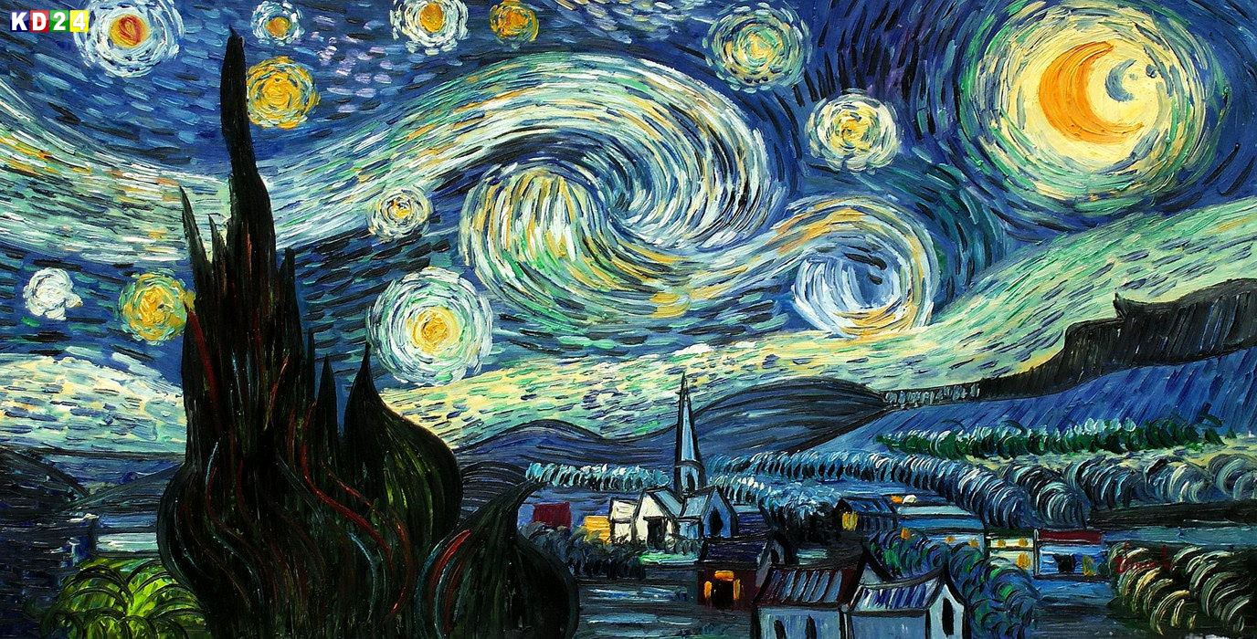 vincent van gogh sternennacht f83327 g 60x120cm meisterhaftes lgem lde ebay. Black Bedroom Furniture Sets. Home Design Ideas