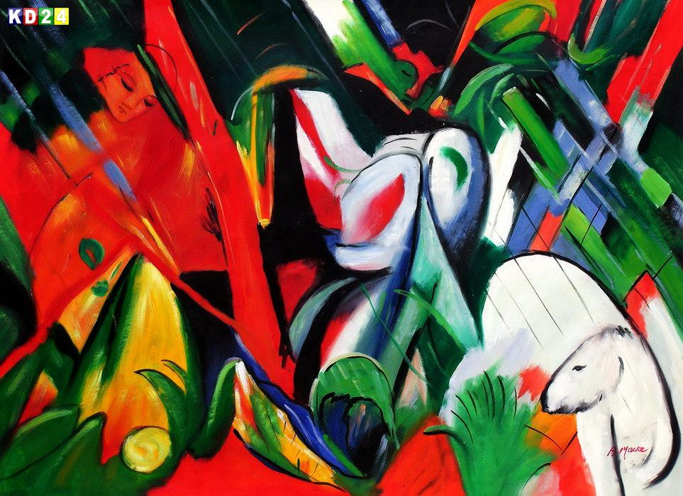 Franz Marc - Im Regen i83370 80x110cm exzellentes lgemlde handgemalt