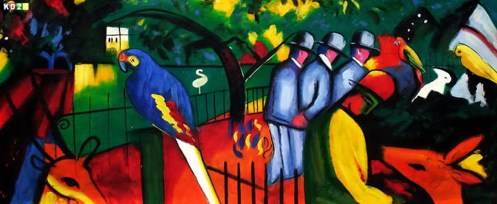 August Macke - Zoologischer Garten t83449 75x180cm exzellentes lgemlde handgemalt