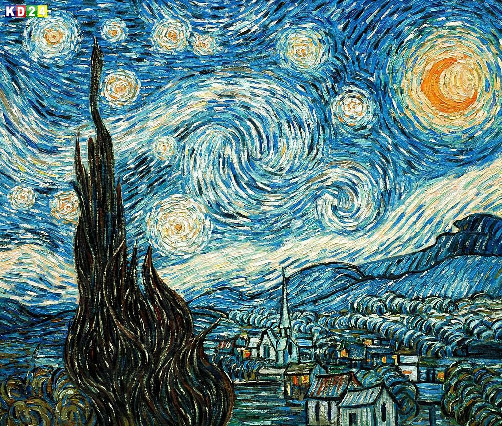 vincent van gogh sternennacht c85763 50x60cm lgem lde museumsqualit t ebay. Black Bedroom Furniture Sets. Home Design Ideas