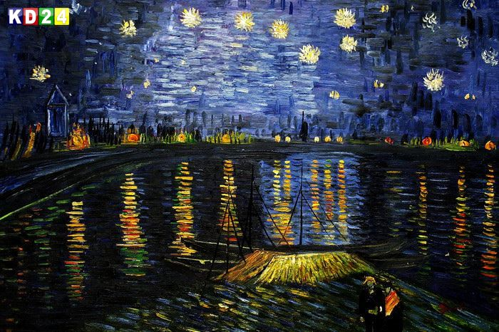 vincent van gogh sternennacht ber der rhone d85643 60x90cm lbild ebay. Black Bedroom Furniture Sets. Home Design Ideas