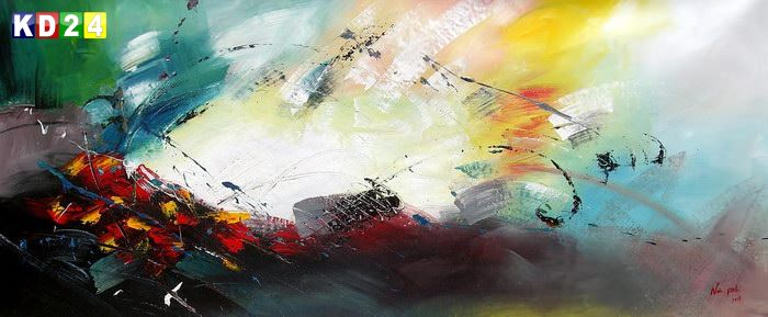 Abstrakt - Sounds of the world t85736  75x180cm abstraktes Ölbild handgemalt