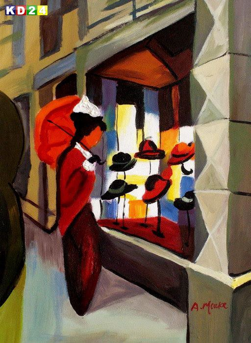 August Macke - Der Hutladen a81967 30x40cm Expressionismus lgemlde handgemalt