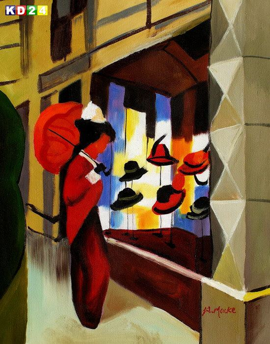 August Macke - Der Hutladen b82047 40x50cm Expressionismus lgemlde handgemalt