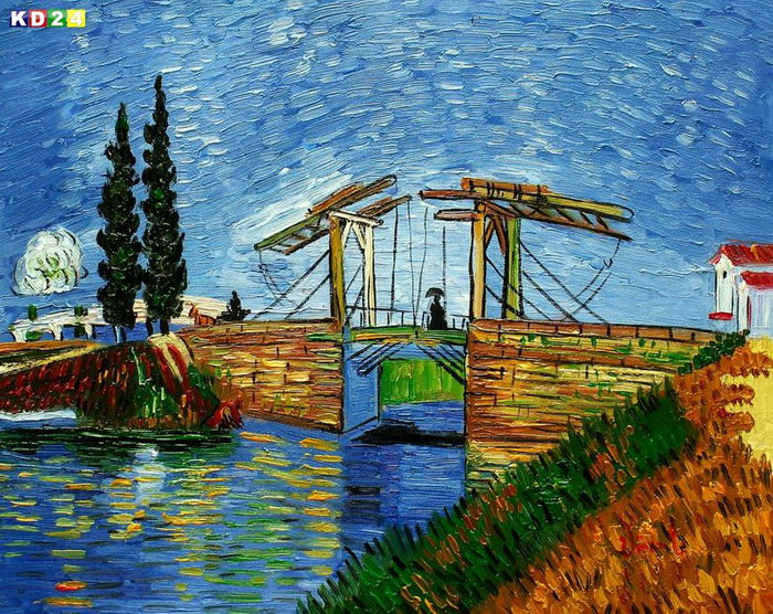 Vincent van Gogh - Brcke von Langlois in Arles b82644 40x50cm lbild handgemalt