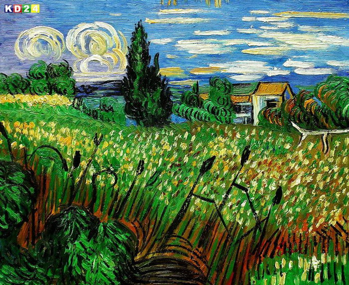 Vincent van Gogh - Grnes Kornfeld mit Zypresse b82658 40x50cm lbild handgemalt