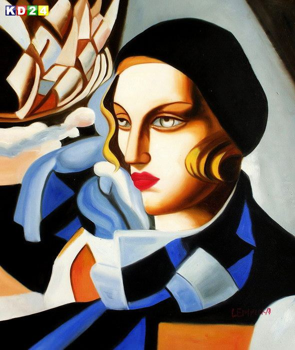 Homage of Tamara de Lempicka - Der blaue Schal c82674 50x60cm lbild handgemalt