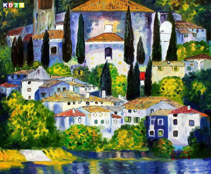 Gustav Klimt - Kirche in Cassone c82692 50x60cm lgemlde handgemalt