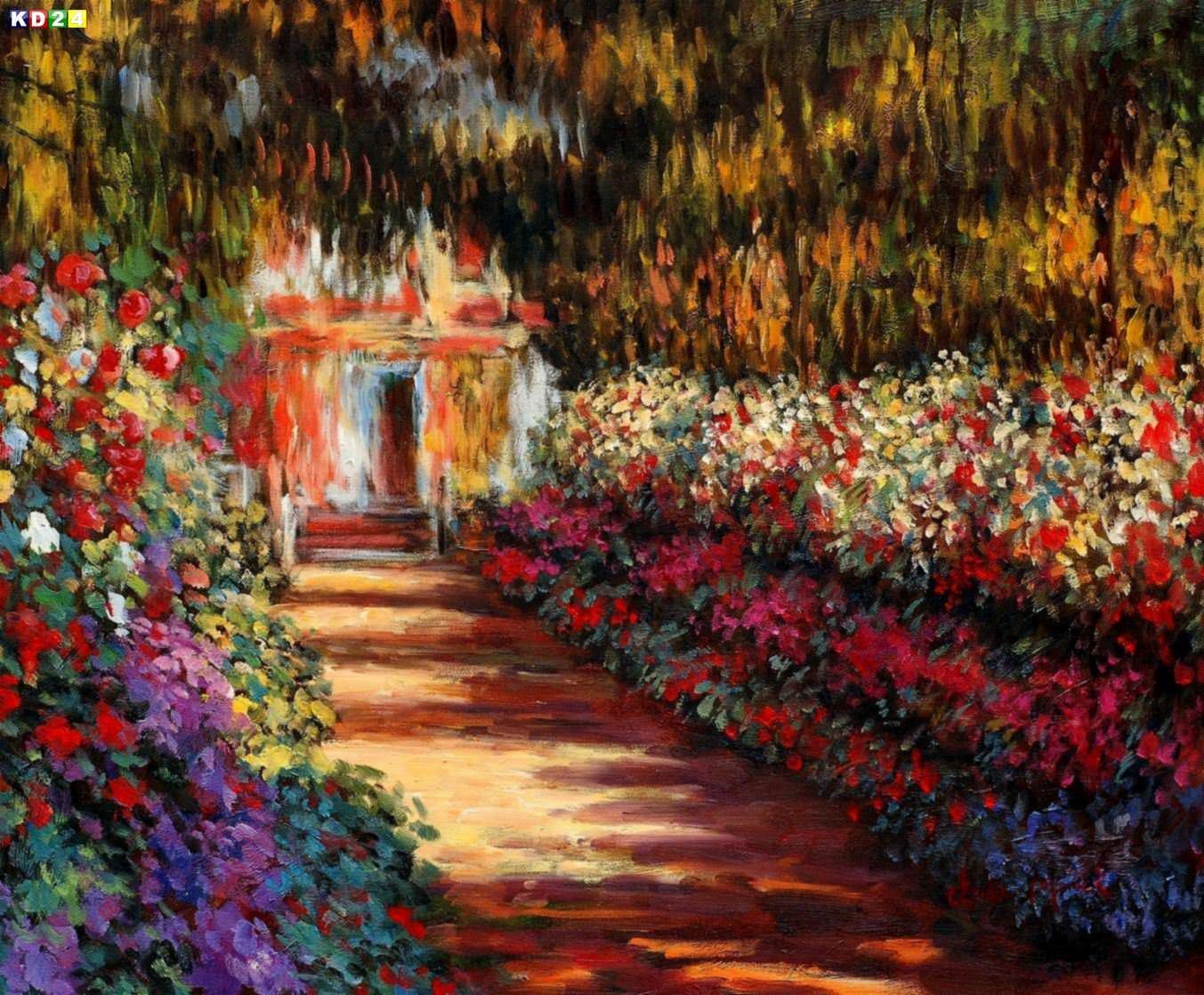 Blumengarten Bilder claude monet blumengarten in giverny c82934 50x60cm ölbild handgemalt ebay