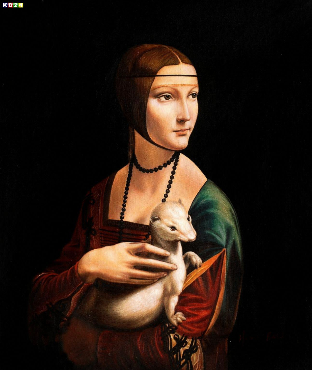 Leonardo da Vinci - Dame mit Hermelin c82958 50x60cm exzellentes lgemlde Museumsqualitt