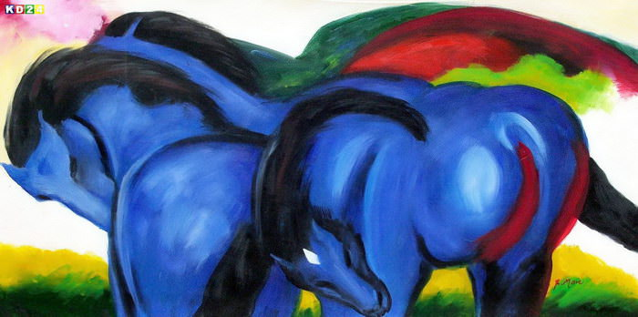 Franz Marc - Groe blaue Pferde f82805 60x120cm exzellentes lgemlde