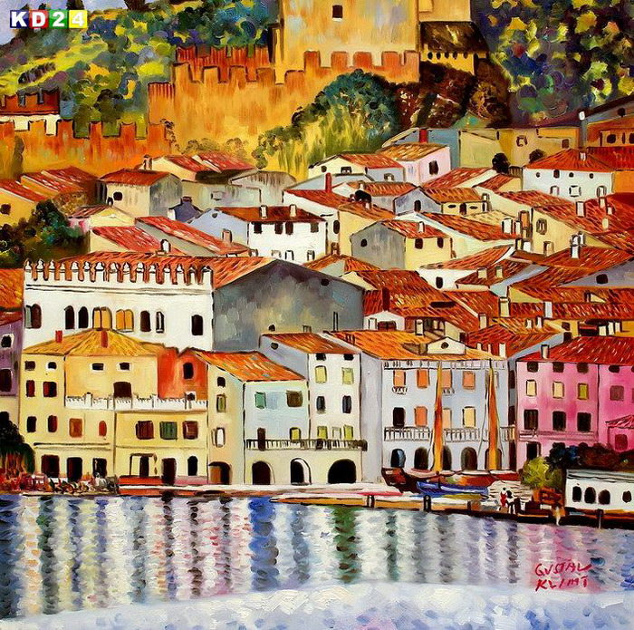 Gustav Klimt - Malcesine am Gardasee g82811 80x80cm lbild handgemalt