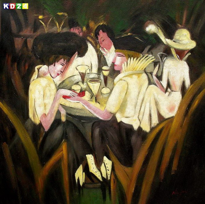Ernst Ludwig Kirchner - Im Cafegarten g82818 80x80cm lbild handgemalt