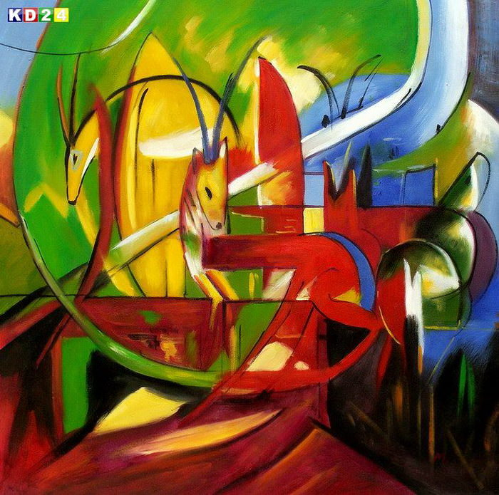 Franz Marc - Gazellen g82822 80x80cm Expressionismus lgemlde