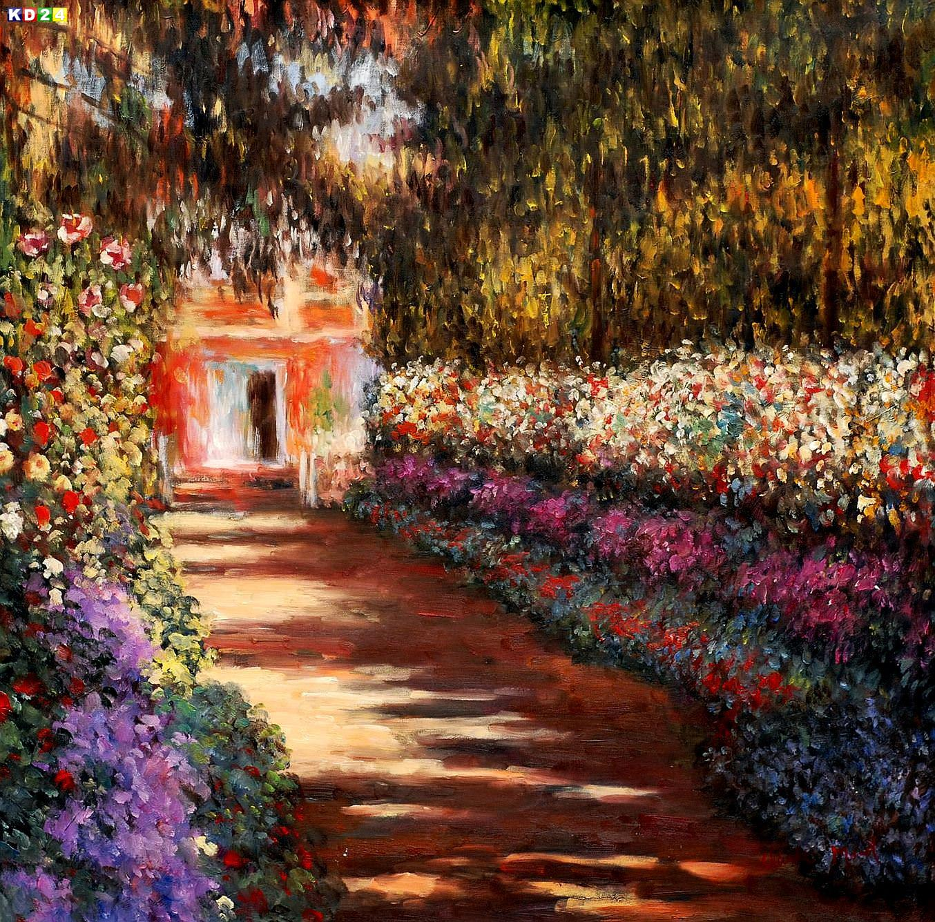 Claude Monet - Blumengarten in Giverny g82946 80x80cm lbild handgemalt