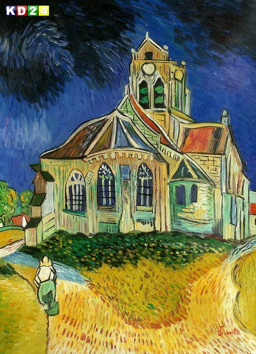 Vincent van Gogh - Kirche in Auvers i82863 80x110cm lbild handgemalt