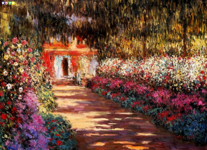 Claude Monet - Blumengarten in Giverny i82949 80x110cm lbild handgemalt