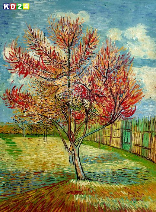 Vincent Van Gogh - Blhender Pfirsichbaum k82892 90x120cm lbild handgemalt