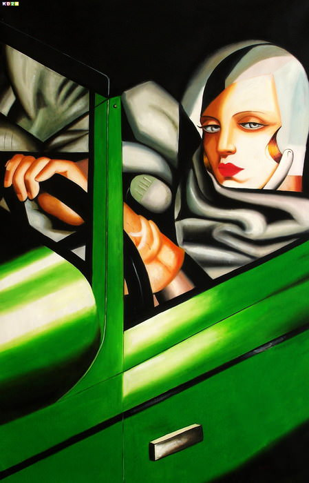 Homage of T. de Lempicka - Tamara im grnen Bugatti p82914 120x180cm lbild handgemalt