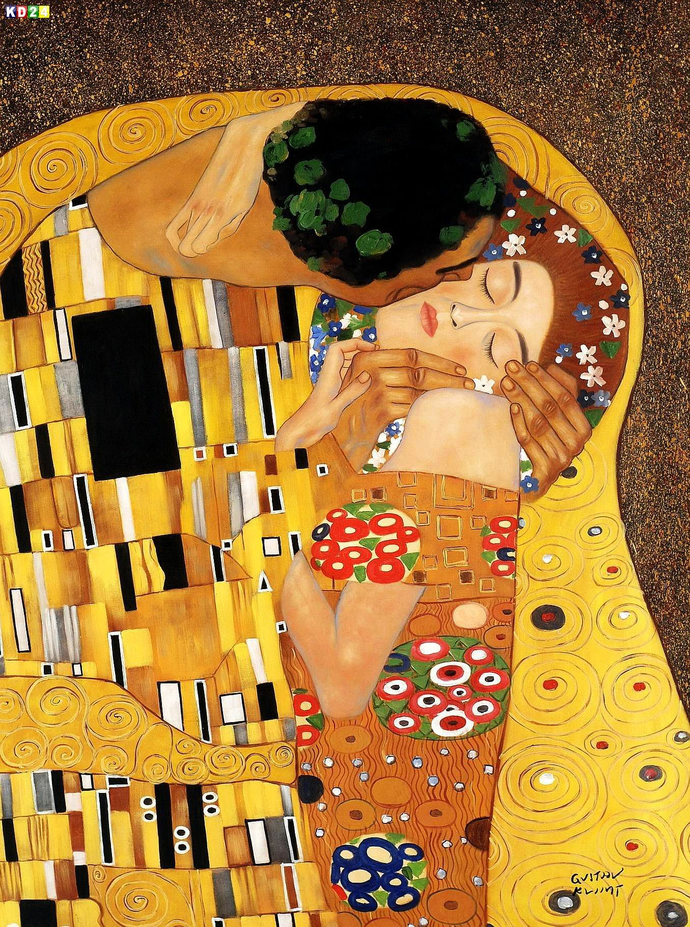 gustav klimt der kuss close up k84500 90x120cm jugendstil lgem lde handgemalt ebay. Black Bedroom Furniture Sets. Home Design Ideas