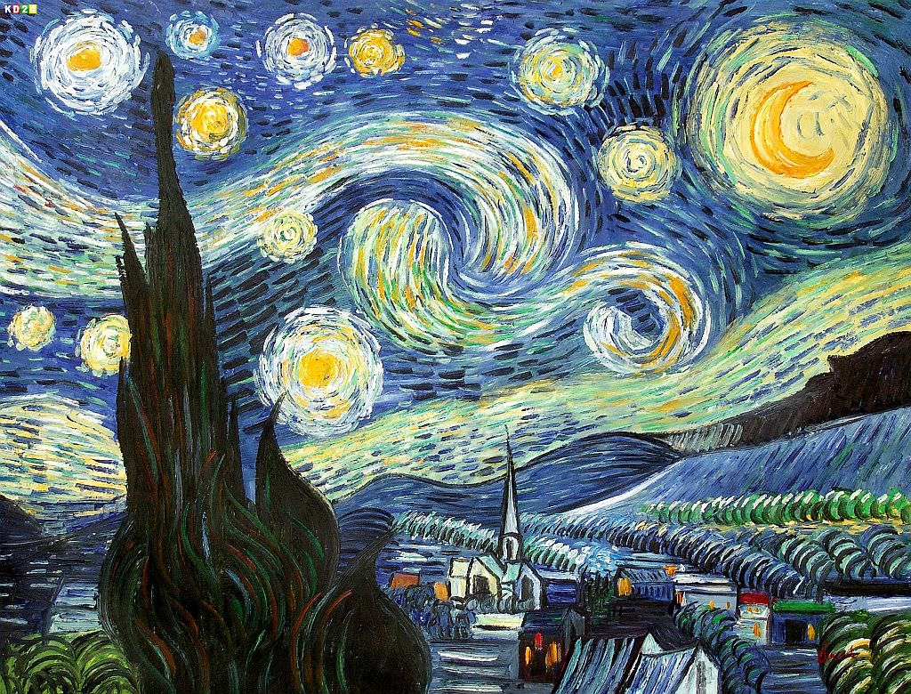 vincent van gogh sternennacht k84920 90x120cm lgem lde handgemalt ebay. Black Bedroom Furniture Sets. Home Design Ideas