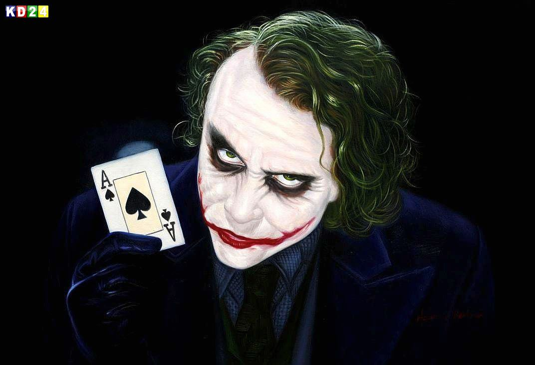 Homage of the Dark Knight - The Joker Heath Ledger d81933 60x90cm exquisites Ölgemälde