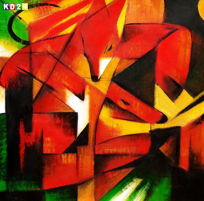 Franz Marc - Fchse g81856 80x80cm Expressionismus lgemlde handgemalt