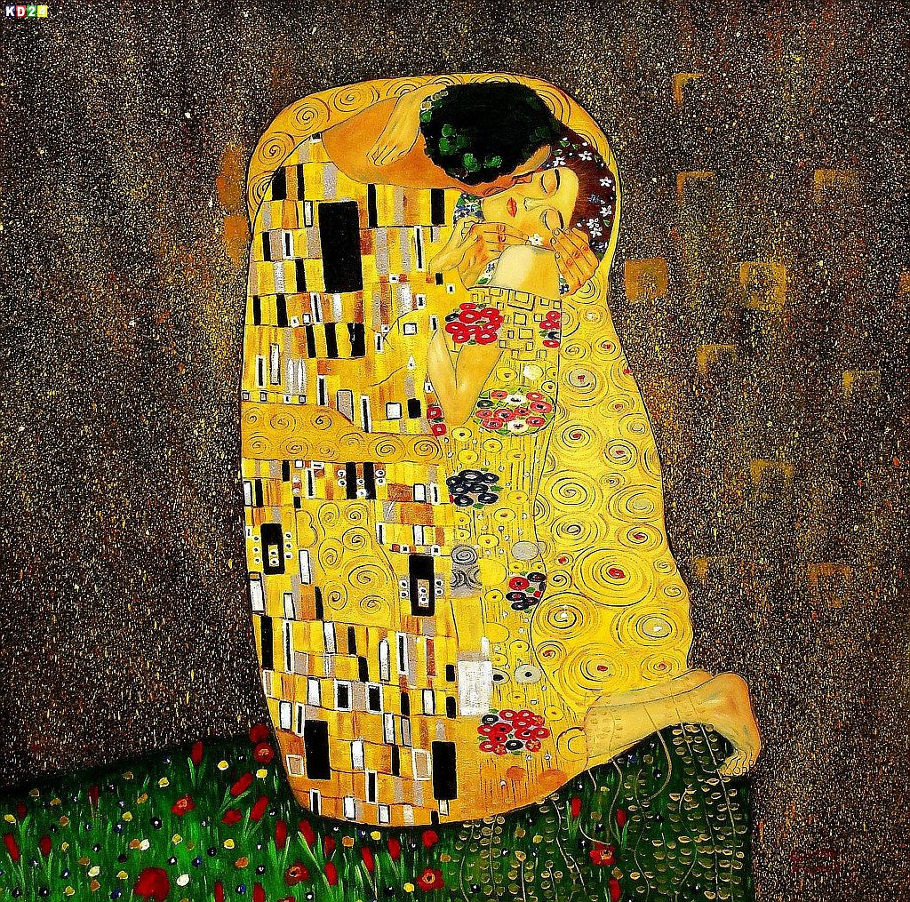 gustav klimt der kuss m81902 120x120cm jugendstil lgem lde handgemalt ebay. Black Bedroom Furniture Sets. Home Design Ideas