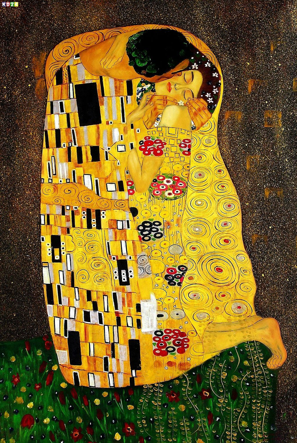 gustav klimt der kuss p81914 120x180cm jugendstil lgem lde handgemalt ebay. Black Bedroom Furniture Sets. Home Design Ideas