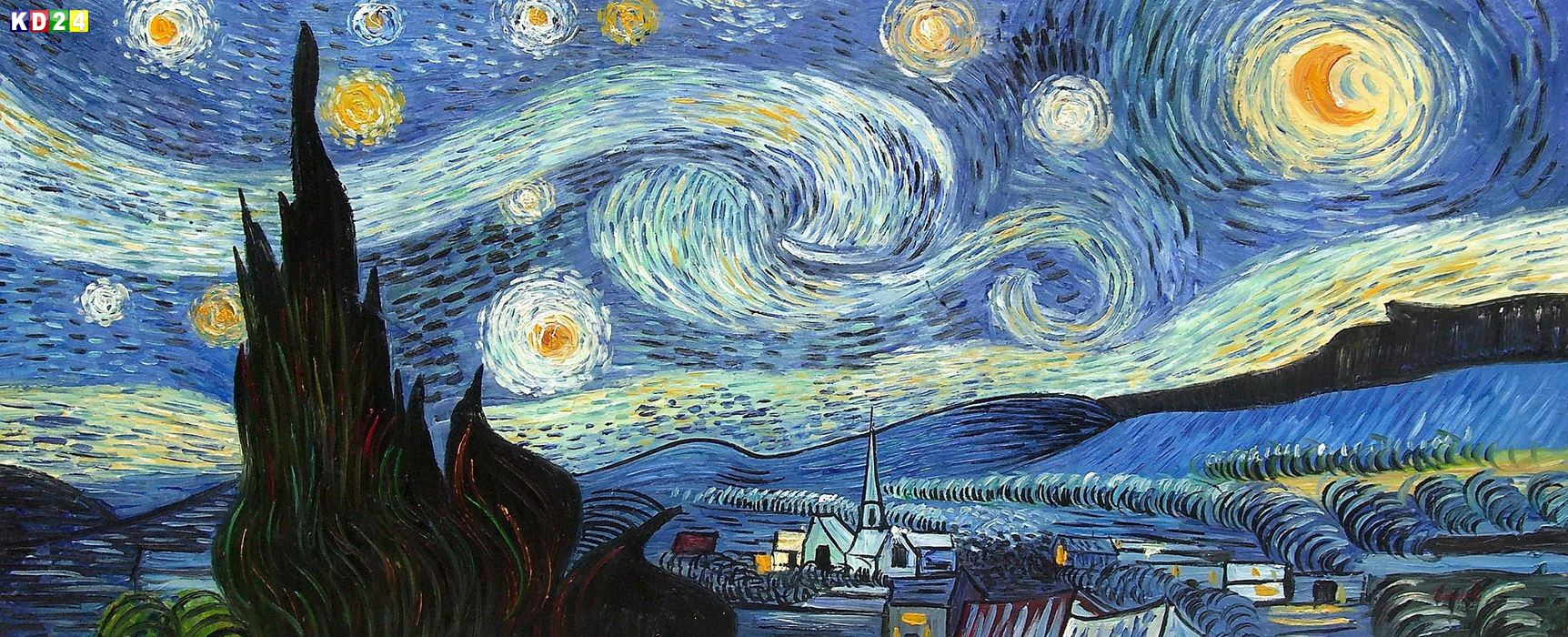 vincent van gogh sternennacht t81907 75x180cm meisterhaftes lgem lde ebay. Black Bedroom Furniture Sets. Home Design Ideas