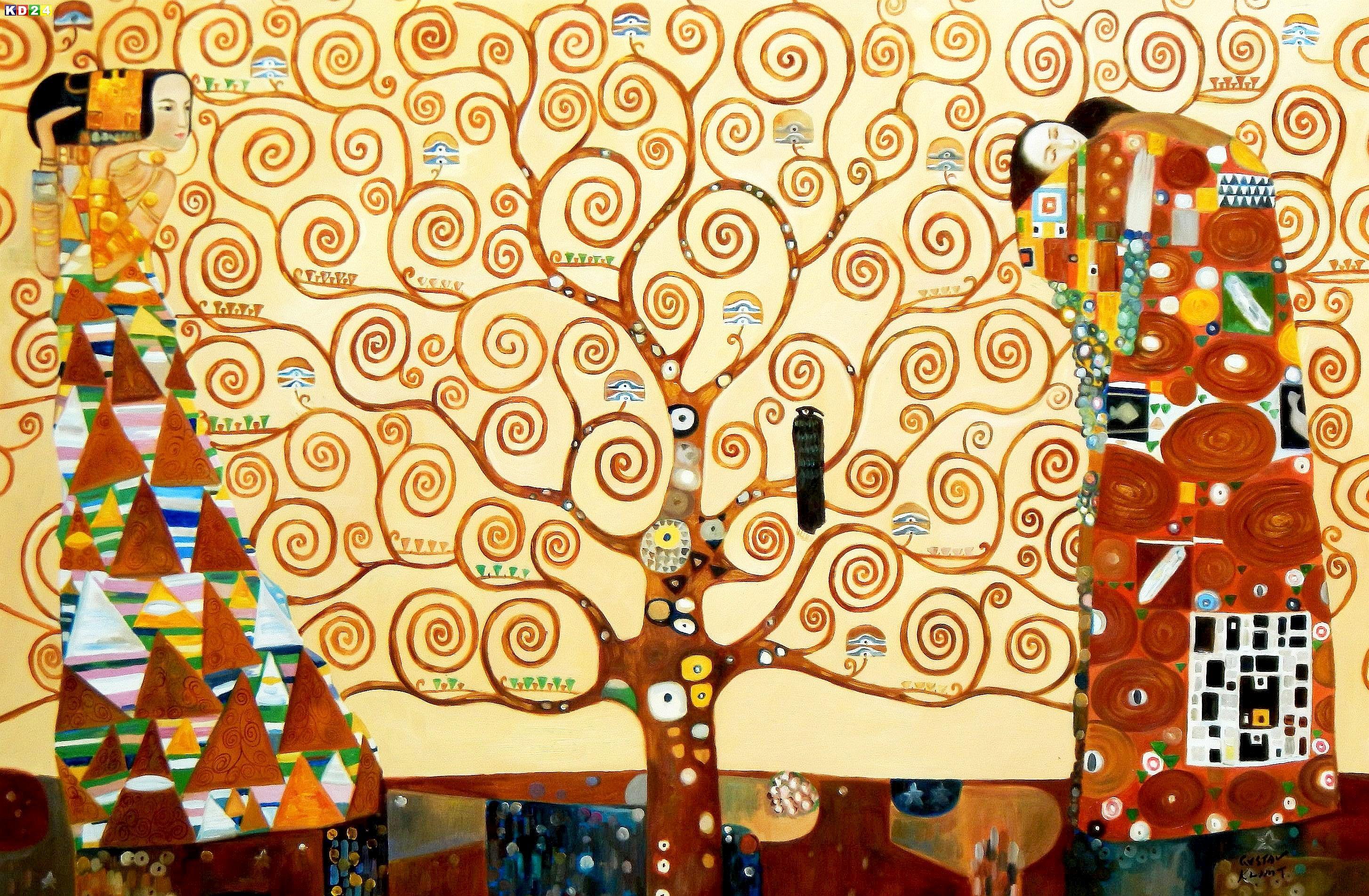 gustav klimt der lebensbaum p89216 120x180cm jugendstil lgem lde handgemalt ebay. Black Bedroom Furniture Sets. Home Design Ideas