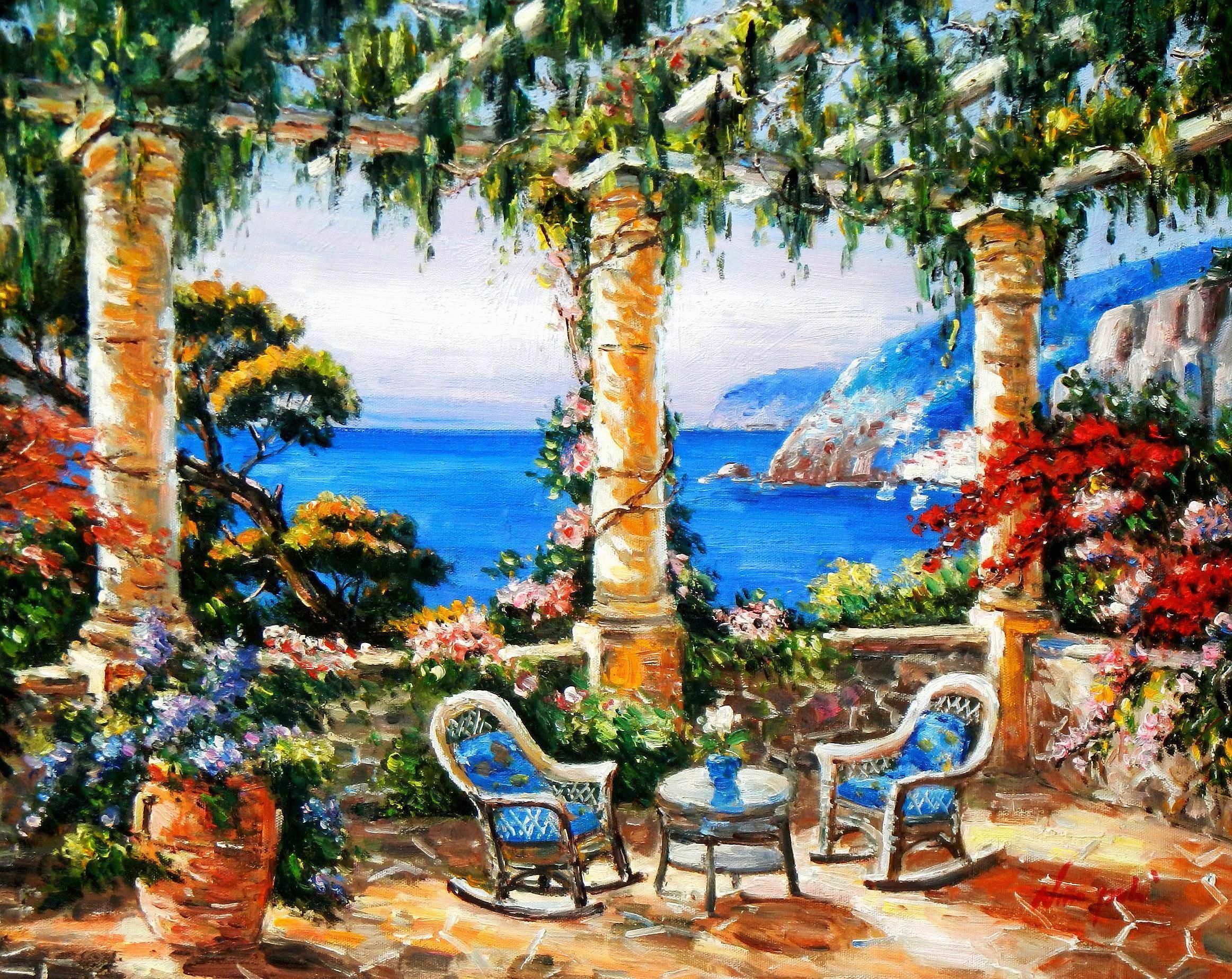 Modern Art - Blumenterrasse auf Santorin b93614 40x50cm Ölbild handgemalt
