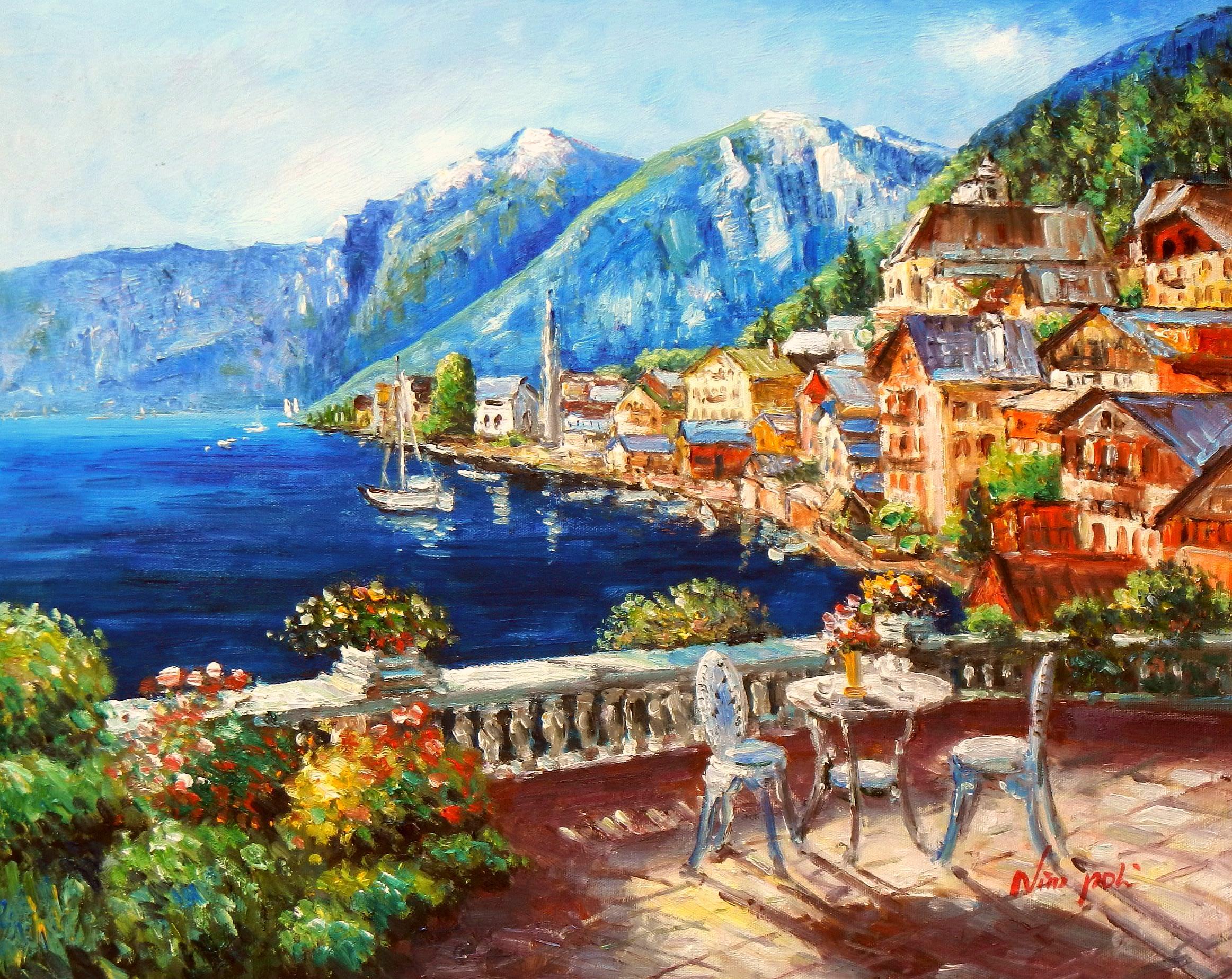 Hotelterrasse mit Meeresblick b93615 40x50cm abstraktes Gemälde handgemalt