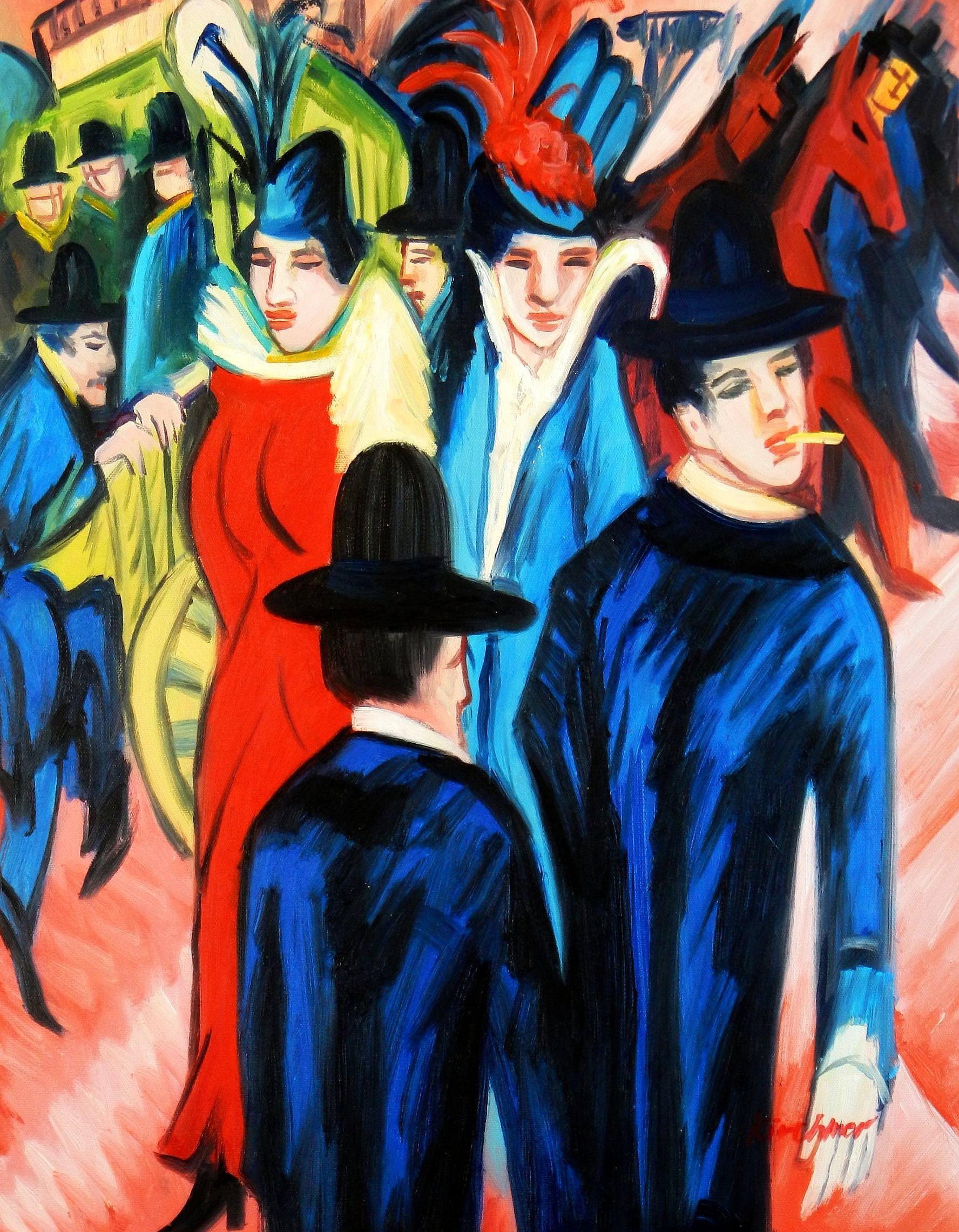 Ernst Ludwig Kirchner - Berliner Straßenszene b93620 40x50cm exquisites Ölbild