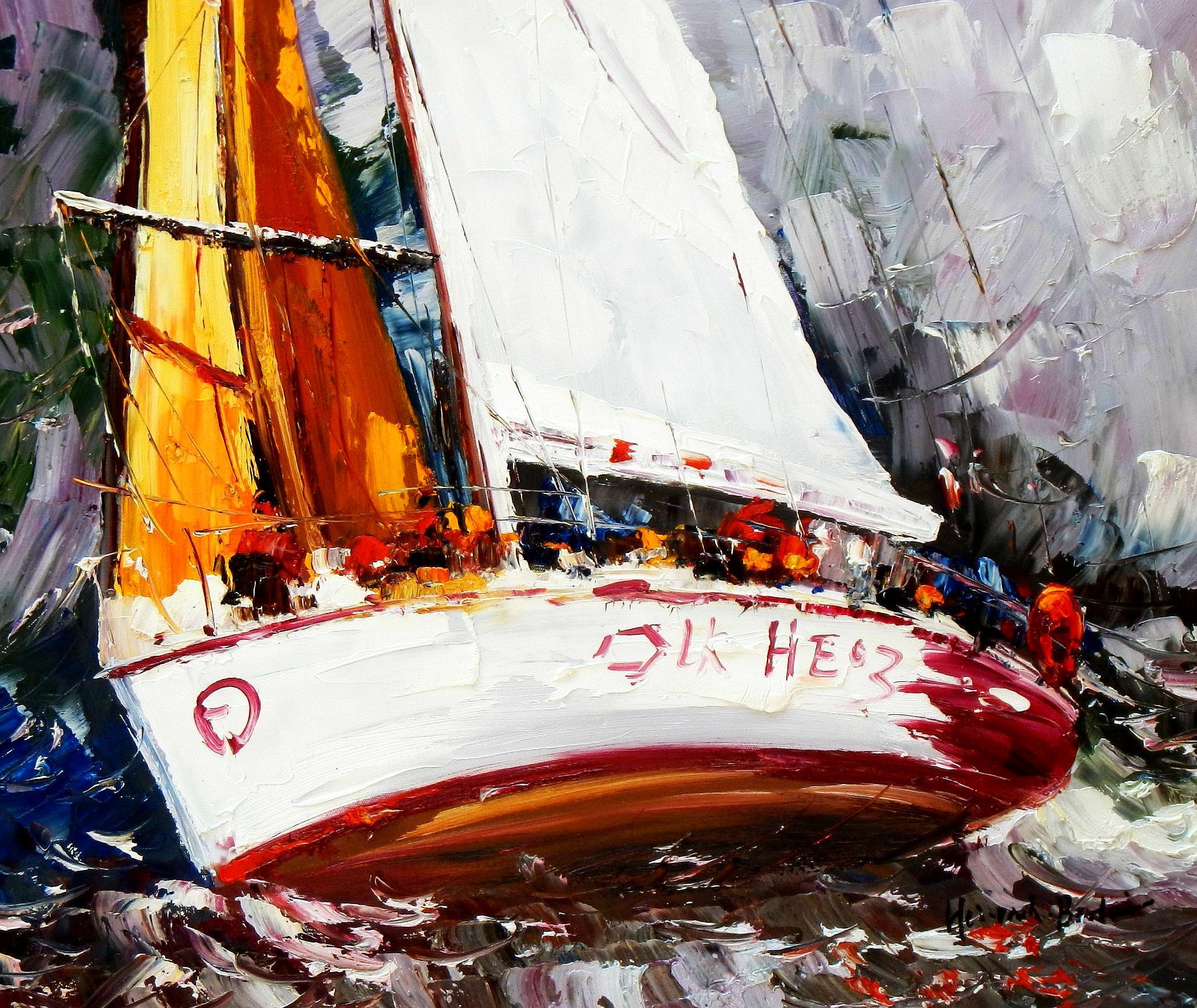 Modern Art - Segelregatta vor Helgoland c93625 50x60cm abstraktes Ölgemälde