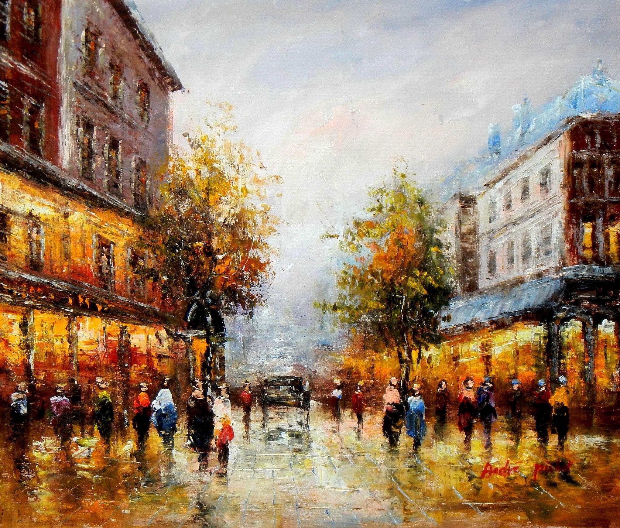 Modern Art - Paris Spaziergang im Sommer c93636 50x60cm Ölbild handgemalt