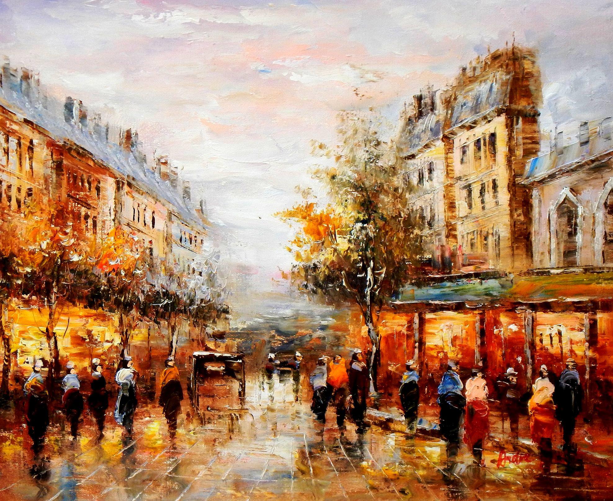 Modern Art - Paris Spaziergang im Sommer c93639 50x60cm Ölbild handgemalt