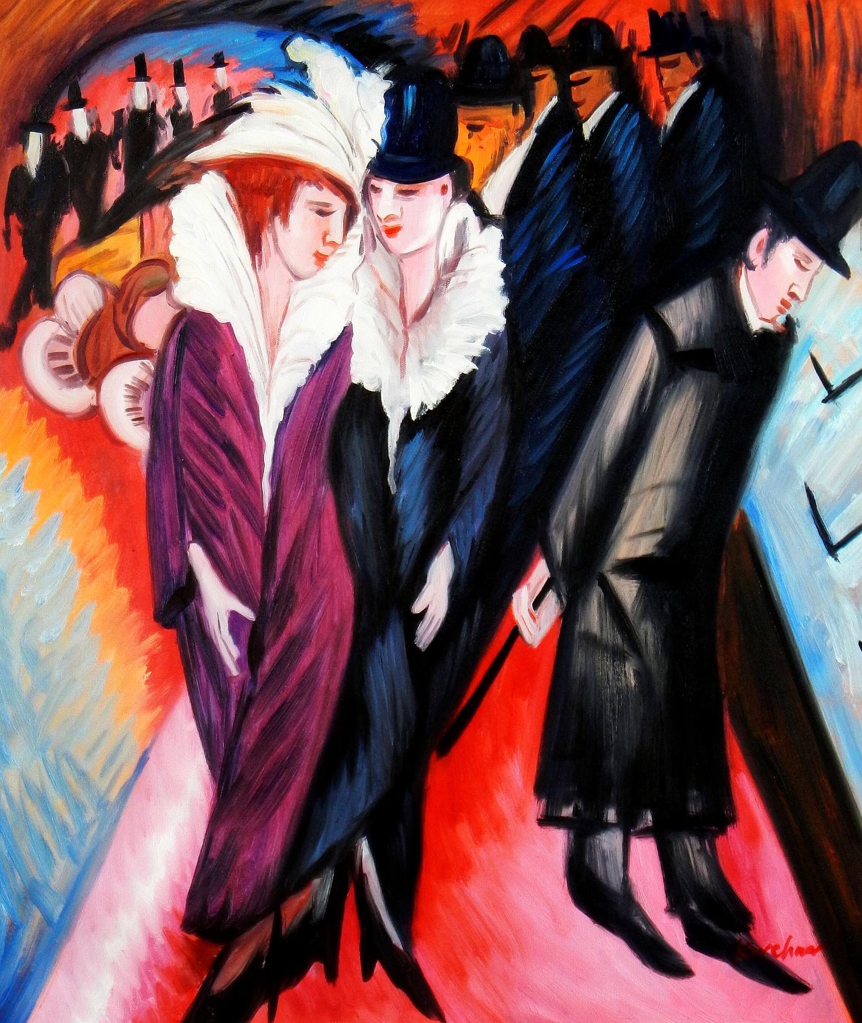 Ernst Ludwig Kirchner - Straßenszene Berlin c93656 50x60cm exquisites Ölbild