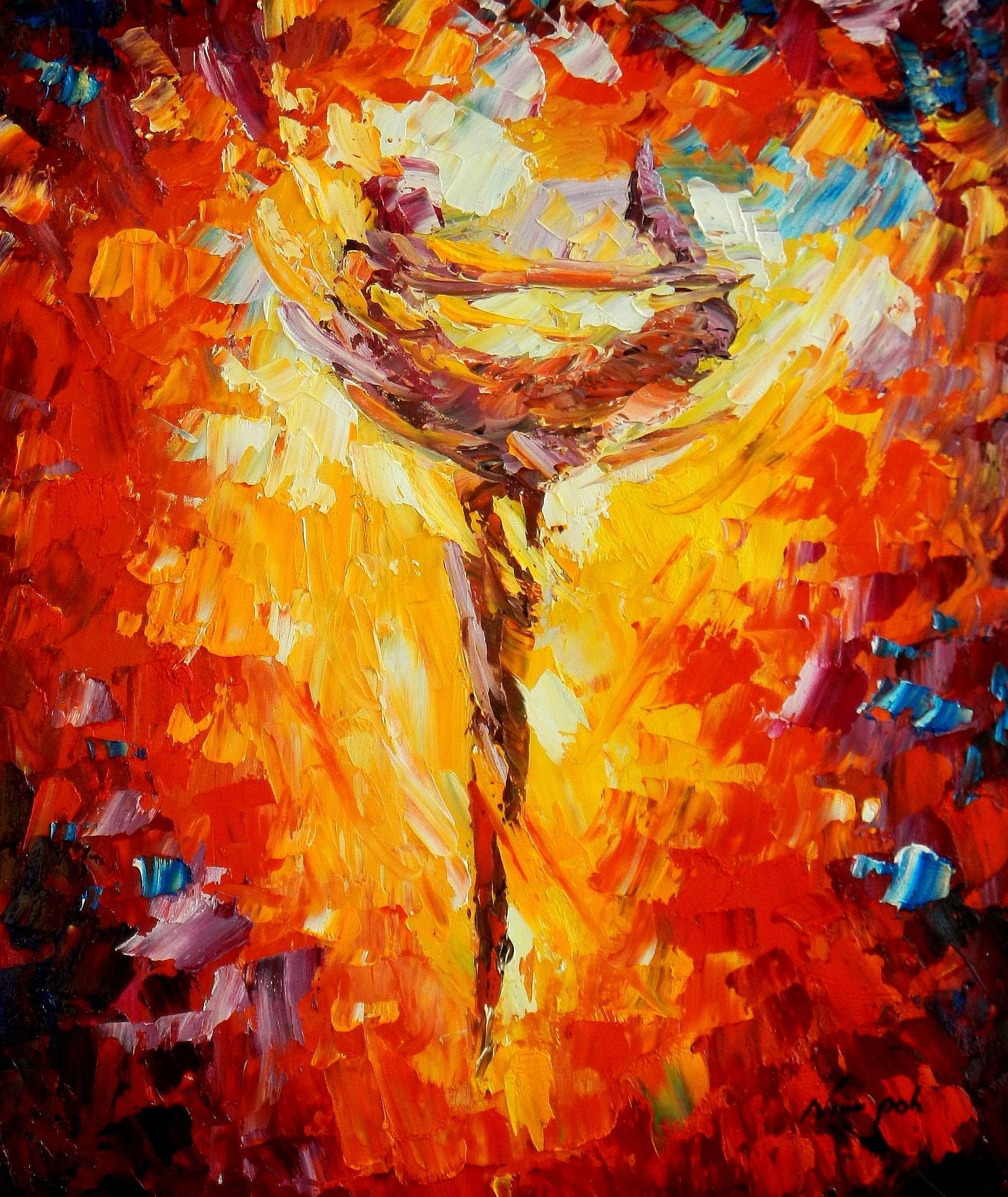 Modern Art - Passion der Tänzerin c93663 50x60cm abstraktes Ölbild