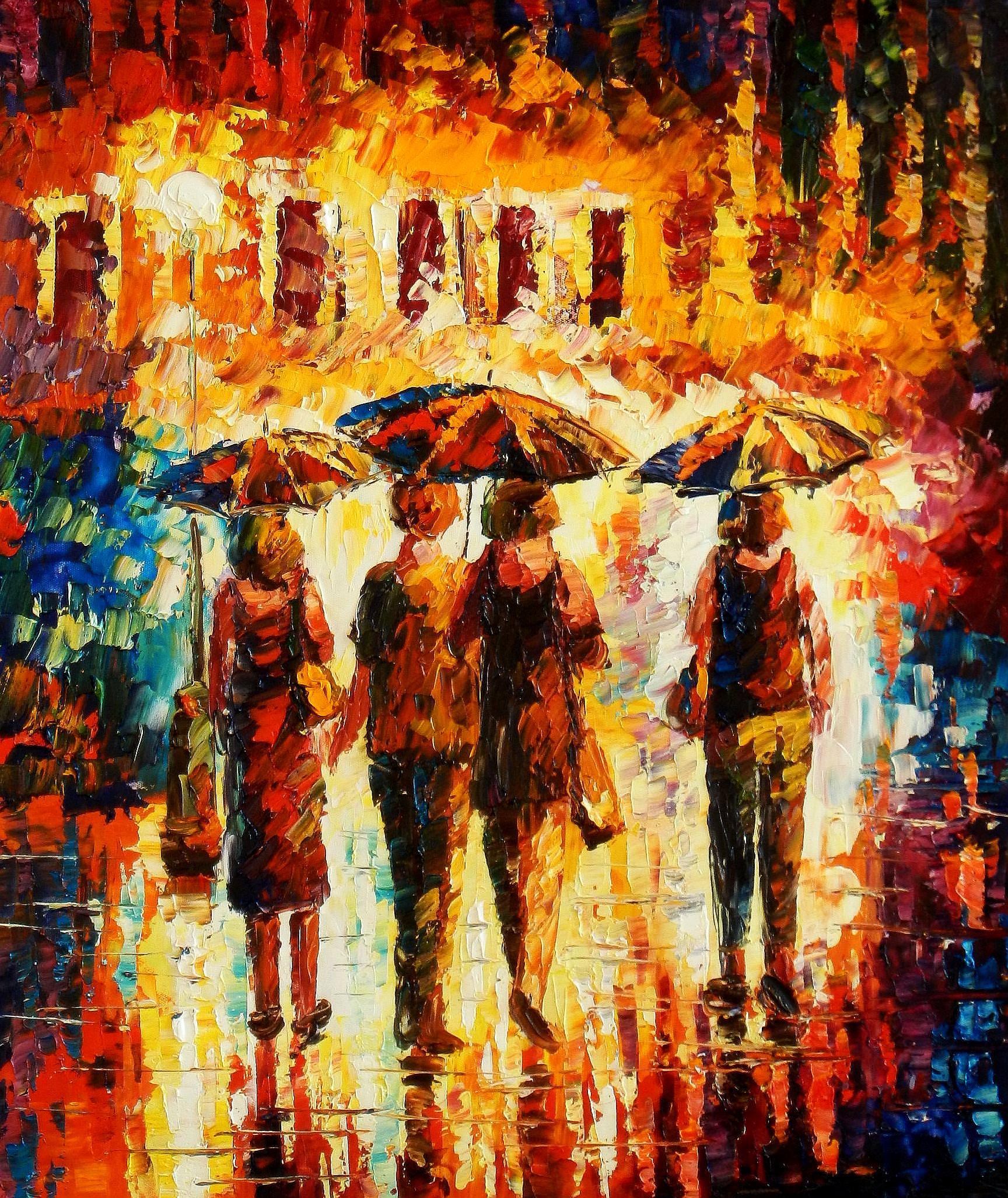 Modern Art - Umbrella walk c93664 50x60cm modernes Ölgemälde