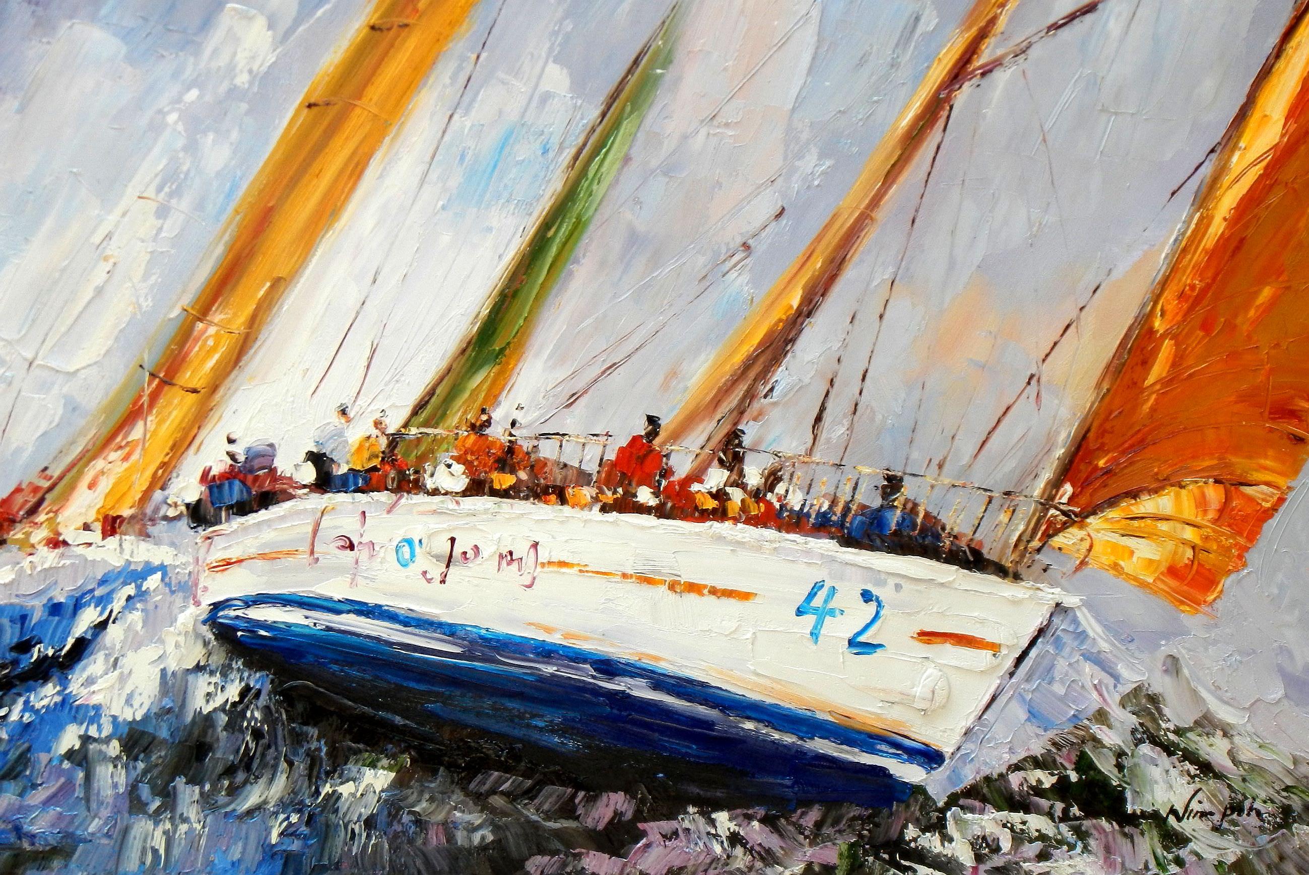 Modern Art - Segelregatta vor Helgoland d93701 60x90cm abstraktes Ölgemälde