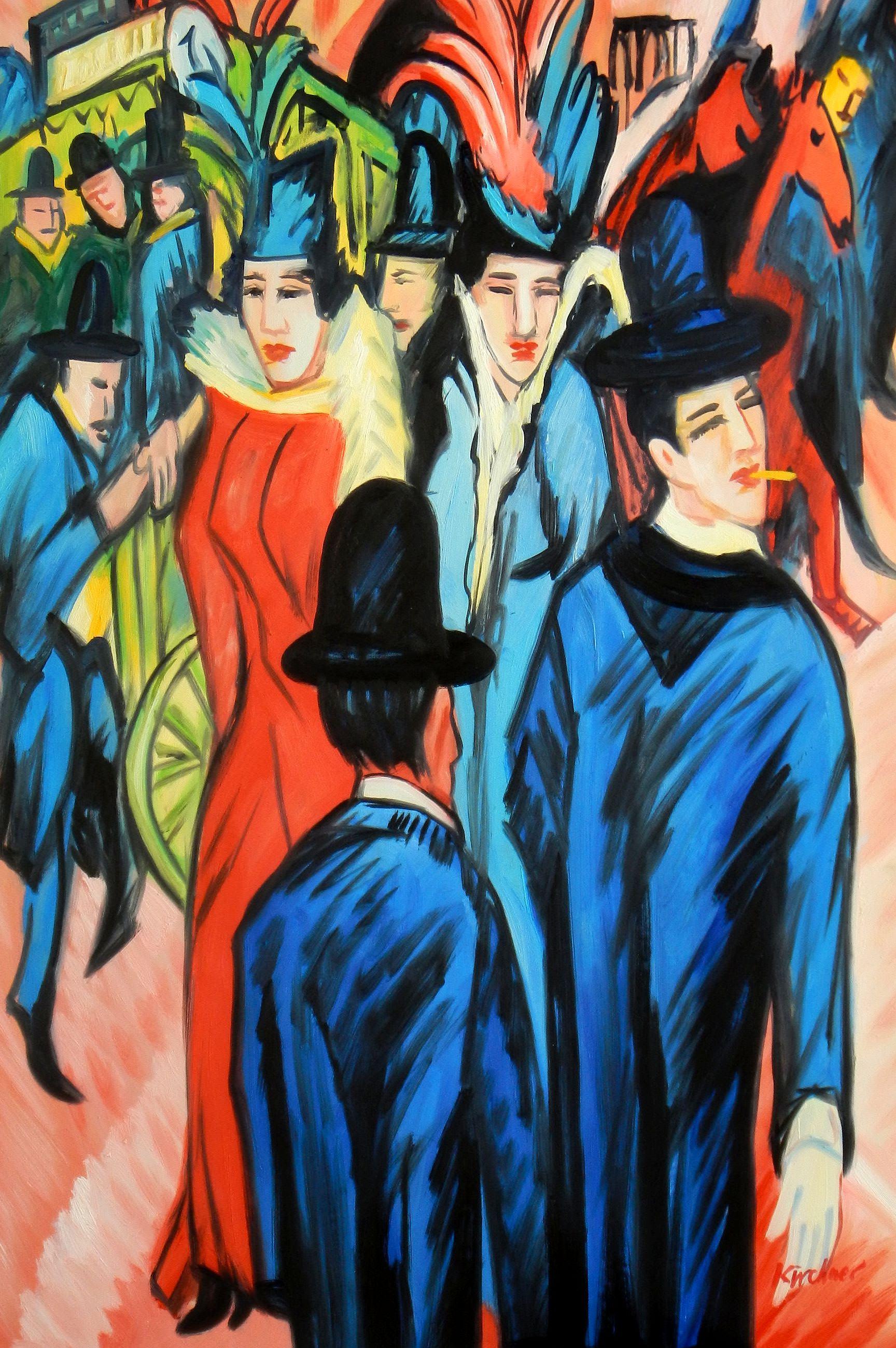 Ernst Ludwig Kirchner - Berliner Straßenszene d93710 60x90cm exquisites Ölbild