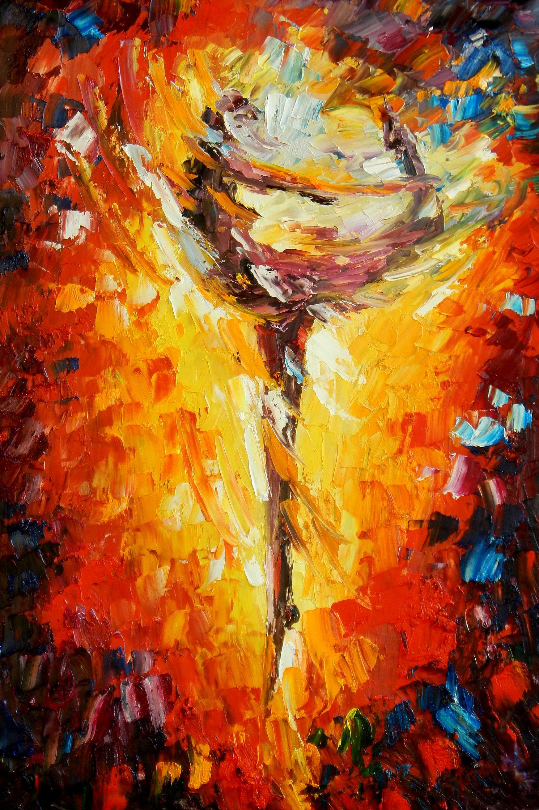 Modern Art - Passion der Tänzerin d93720 60x90cm abstraktes Ölbild