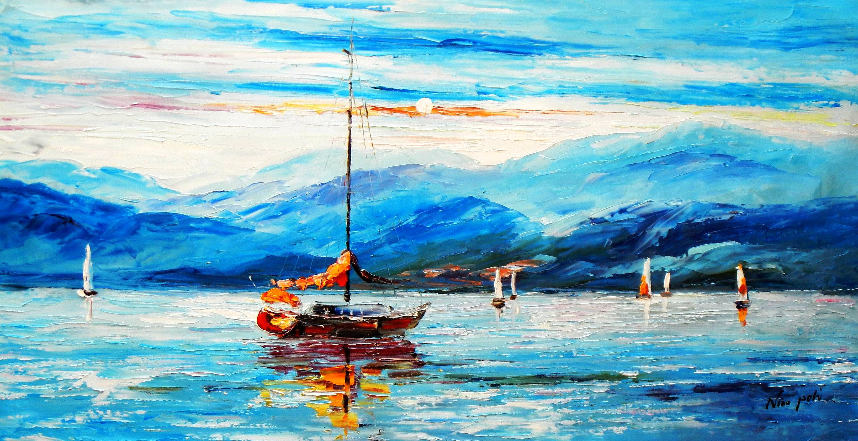 Modern Art - Segelregatta vor Helgoland f93733 G 60x120cm abstraktes Ölgemälde