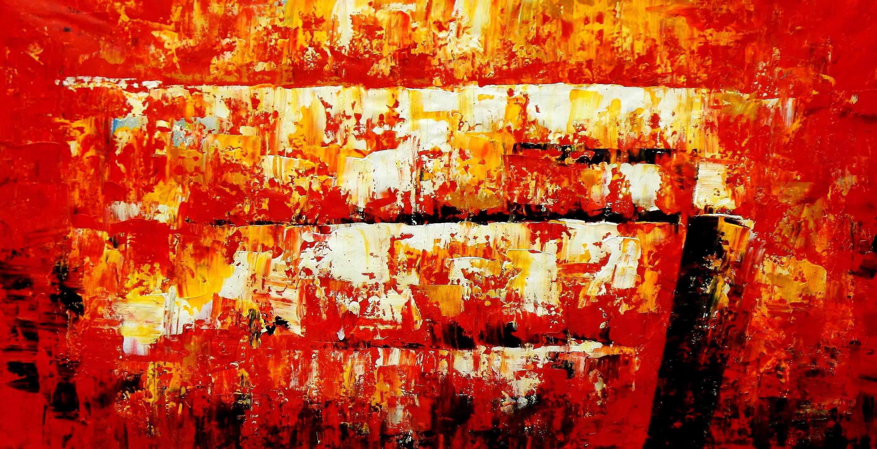 Abstract - The firewall f93741 60x120cm abstraktes Ölgemälde