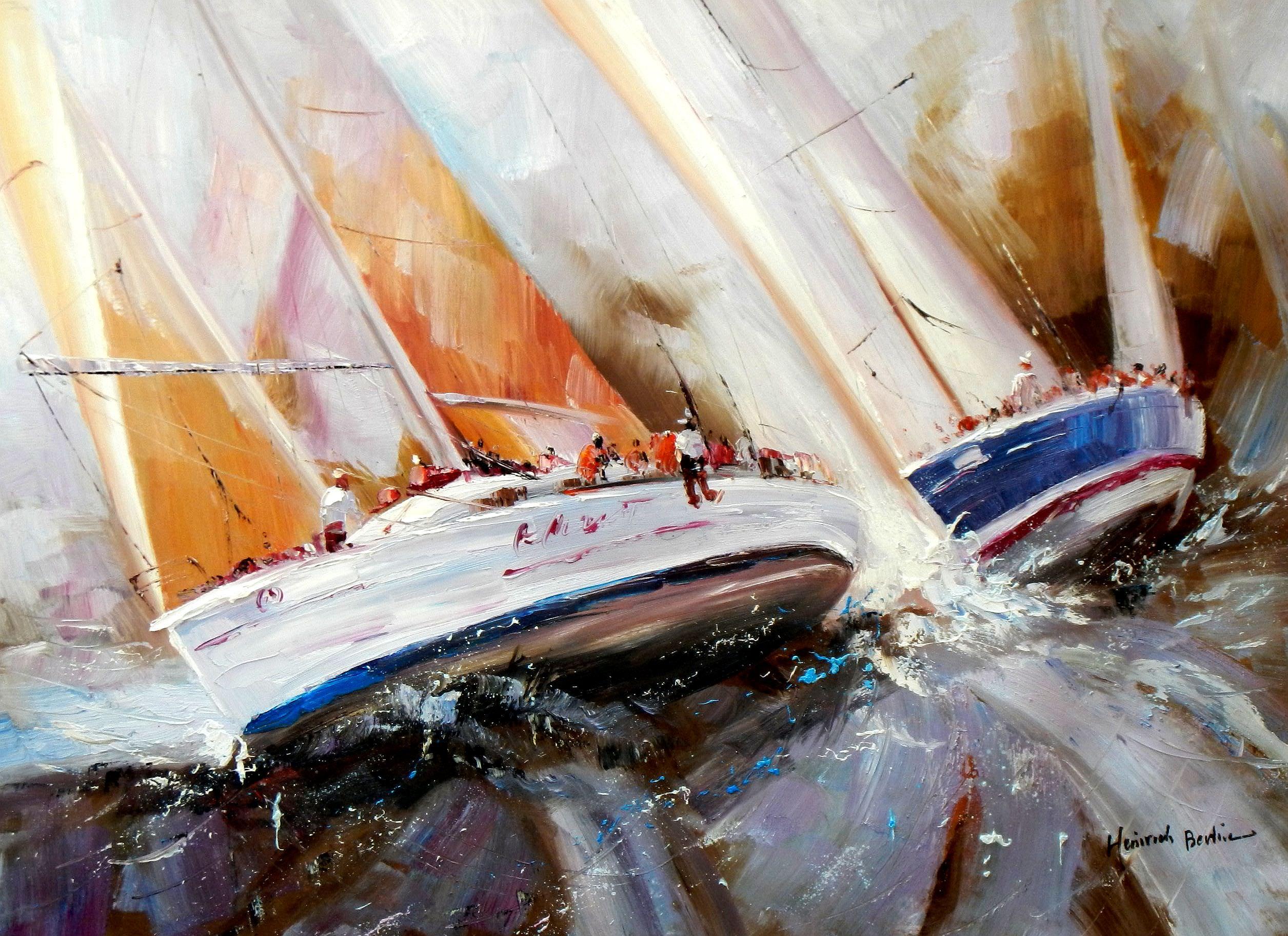 Modern Art - Segelregatta vor Helgoland i93770 80x110cm abstraktes Ölgemälde