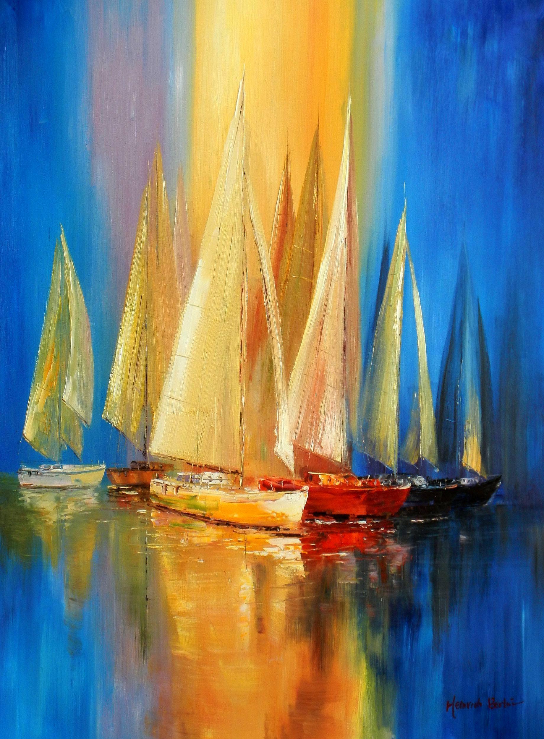 Segelboote auf dem Gardasee i93787 80x110cm modernes Gemälde handgemalt